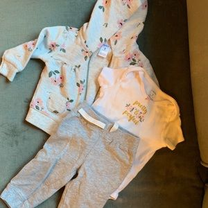 Carter's baby girl 6-9 m floral outfit hoodie
